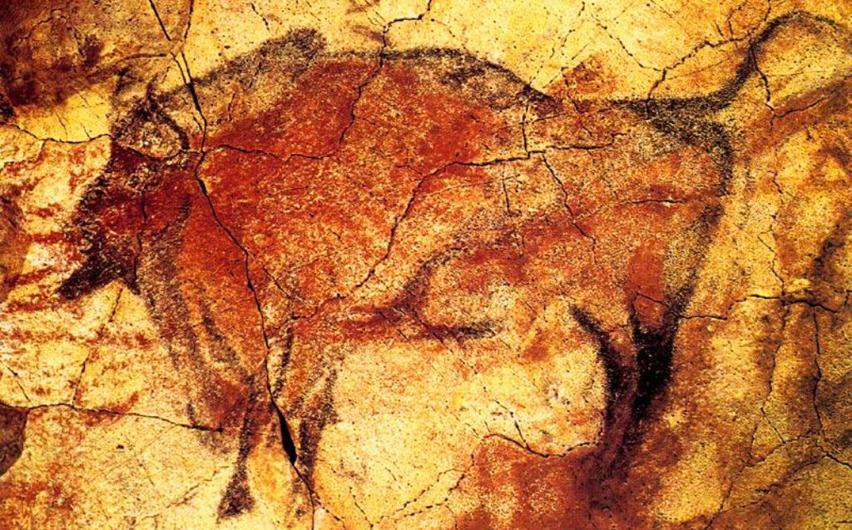 Pintura de bizonte en cueva Altamira